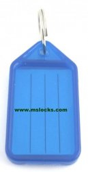 Blue 56mm plastic key tag